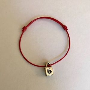 NEW Red Leather Uno de 50 Bracelet, Silver Charm